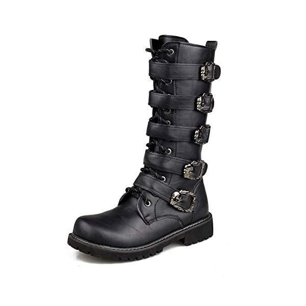 ZAKING Men's Mid Calf Buckle Strap Side Zip Punk Motorcycle Black Martin Boots 3