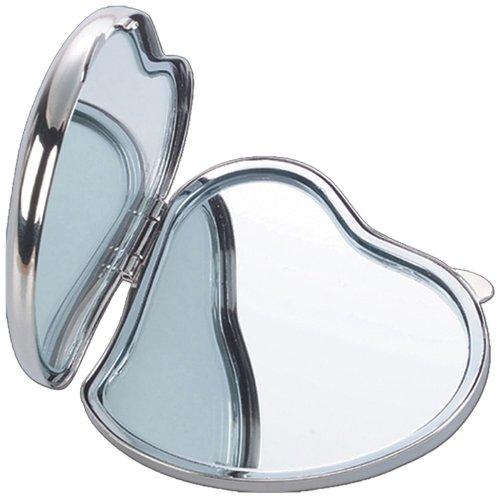 Natico 60-712S Silver Compact Heart Shape Mirror by Natico
