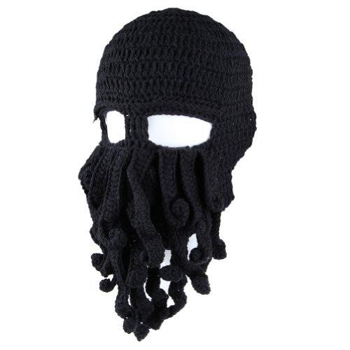 Unisex Knit Octopus Yarn Tentacle Beard Beanie Kraken Hat Funny Gift Black Fisher Cap