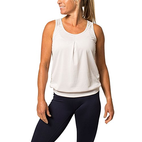 Zuma Blu Women's Active Tank Top with Pockets - Loose Flowy Shirt for Running, Biking and Cycling (White, - Bike Top Active