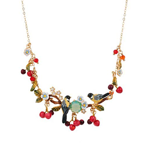 Enamel Glaze Hand-painted Necklace Red Cherry And Bird Pendant Necklace Gold-plated Clavicular Chain