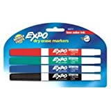 EXPO 86674K  Low-Odor Dry Erase Markers, Fine Point, Assorted Colors, 4-Count