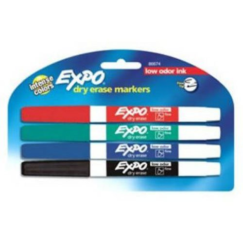 EXPO Low-Odor Dry Erase Markers, Fine Point, Assorted Colors, 4-Count
