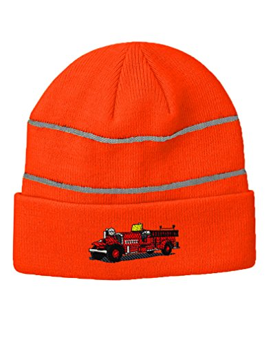 Antique Fire Truck Embroidery - Antique Fire Truck Embroidery Design Acrylic Beanie Reflective Stripes Neon Orange