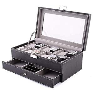 amzdeal Watch Jewelry Box 2 Layers 12 Grids PU Leather Watch Storage Display Case with Compartments for Cufflink, Rings, Chains – 32.5 × 19.5 × 11.5 cm