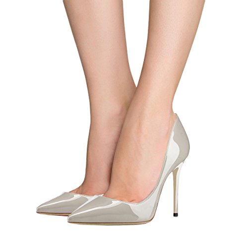 Dress Party Ladies Pumps 4 for Grey High 7 Shoes VOCOSI inches toe Pointed Zsie Heels Patent Women's qSwTxpF7