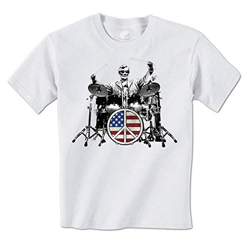 Peace X-large Sign (Abraham Lincoln - American Drummer Peace Sign Drum Set Rock Mens T-Shirt XL White)