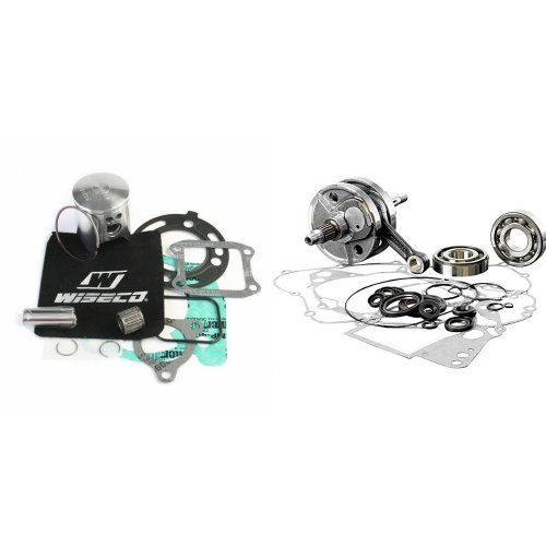 Wiseco PK1588 47.5mm 2-Stroke Motorcycle Piston Kit with Top-End Gasket Kit and Wiseco WPC115 Crankshaft Assembly for Honda CR80 and CR85 Bundle - Honda Cr80 Wiseco Piston