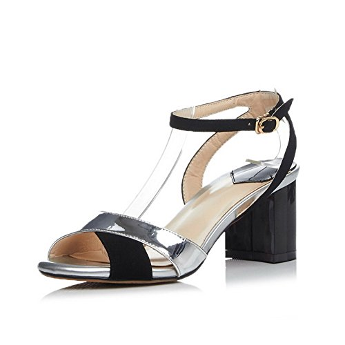 AgooLar Women's Blend Materials High-Heels Open Toe Assorted Color Buckle Sandals Black H6UUT
