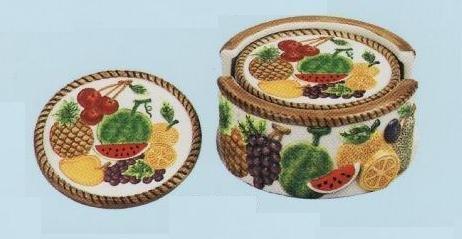 6 Piece Mixed Fruit Coaster Set