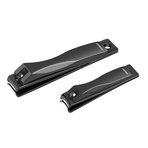 - FIXBODY Nail Clipper Set - Black Stainless Steel Fingernails & Toenails Clipper Cutter with Leather Case, Set of 2 (Straight & Curved)