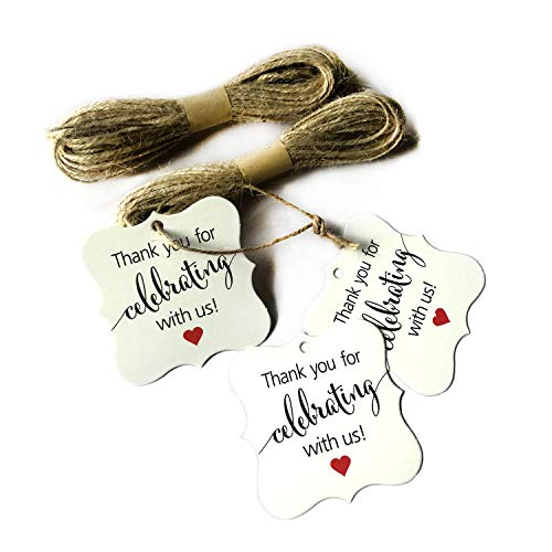 SKYSTARS 100 PCS Thank You for Celebrating with Us Tags White Paper Gift Wrap Tags with Natural Jute Twine for Baby Shower, Christmas, Wedding and Party Decoration - White ()