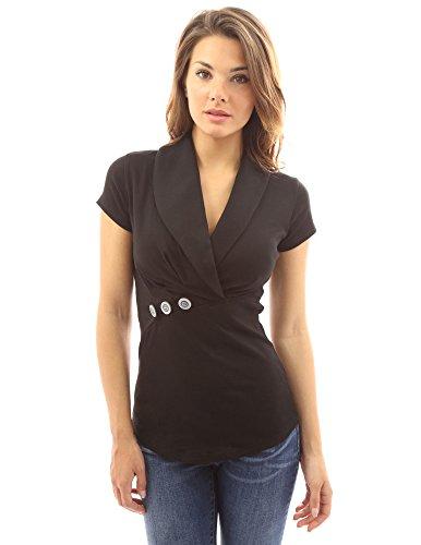 (PattyBoutik Women Shawl Collar Short Sleeve Blouse (Black Large))