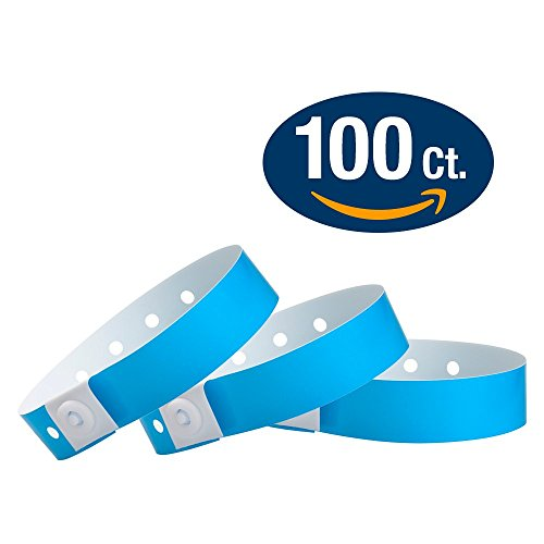WristCo Neon Blue Plastic Wristbands - 100 Pack Wristbands For Events