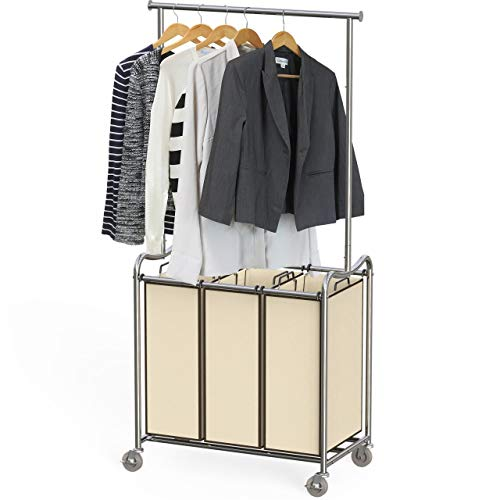 DecoBros Heavy-Duty 3 Bag Laundry Sorter Cart with Hanging Bar (Laundry Rack Sorting)