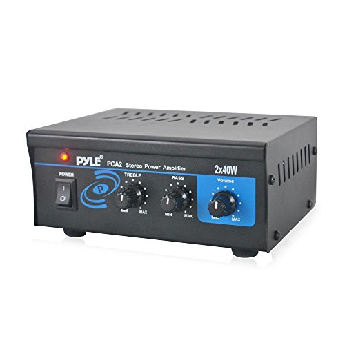 Dual Channel Tube - Home Audio Power Amplifier System - 2X40W Mini Portable Dual Channel Surround Sound Stereo Receiver Box w/ LED - For Amplified Subwoofer Speakers, CD DVD Player, Theater via 3.5mm RCA - Pyle PCA2