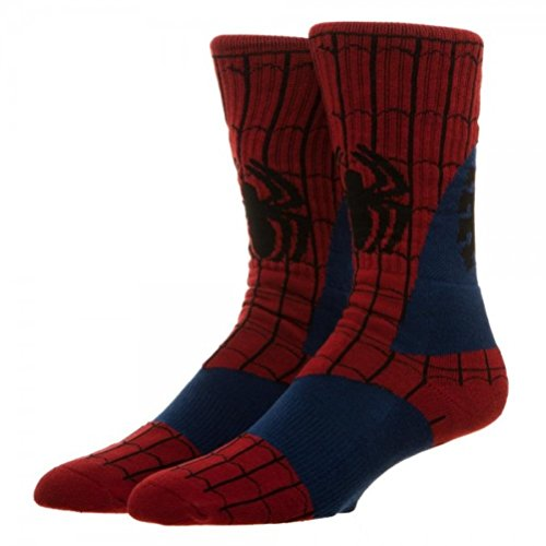 [Super Hero Marvel Comics Spiderman Suit Up Crew Socks] (Spiderman Outfit Adult)
