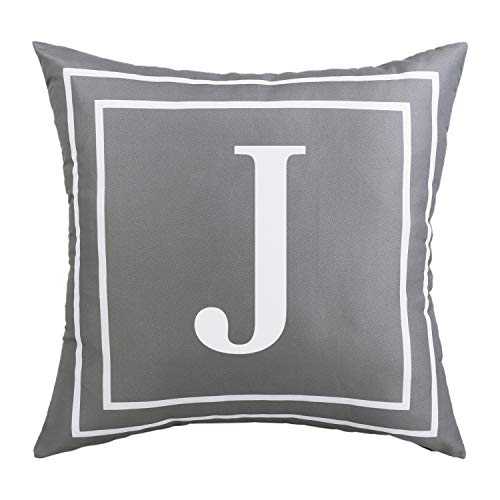 BLEUM CADE Gray Pillow Cover English Alphabet J Throw Pillow Case Modern Cushion Cover Square Pillowcase Decoration for Sofa Bed Chair Car 18 x 18 Inch