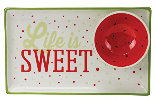 Boston Warehouse Chip & Dip Platter, Watermelon Collection, Hand Painted Ceramic ()