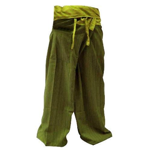 Frei Größe 2Farbe in einer Baumwolle Streifen Thai Fisherman Hose Yoga Hosen gratis Größe Plus Größe Baumwolle Bohrer oliv grün Streifen SUWARENE Zenza Fashion