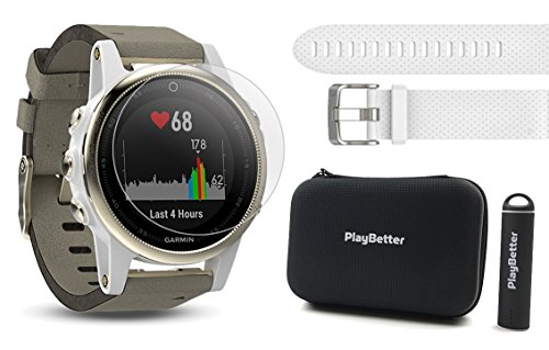 Garmin fenix 5S Sapphire (Champagne/Suede Band) Power Bundle | Includes Extra Band (White), HD Glass Screen Protector, PlayBetter Hard Case & PlayBetter Portable Charger | Multi-Sport GPS Watch by PlayBetter