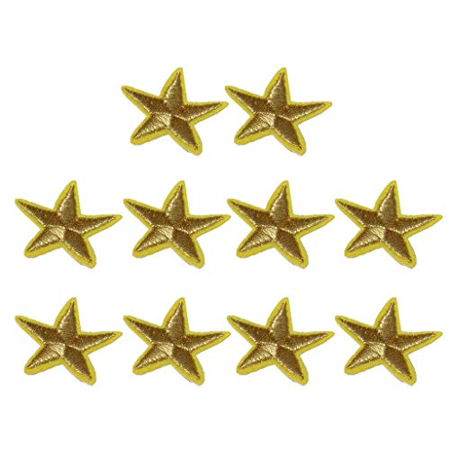 10x Gold Star Patch Embroidered Sew Iron on Applique Clothes Accessories
