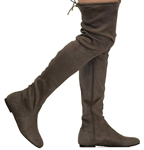 (MVE Shoes Womens Fashionable Flat Over The Knee Boots - Comfortable Suede Adjustable Boots, Taupe Suede 7)