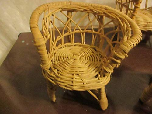 Rattan settee Doll Furniture Wicker Couch, Chairs, Table, 4 Pieces
