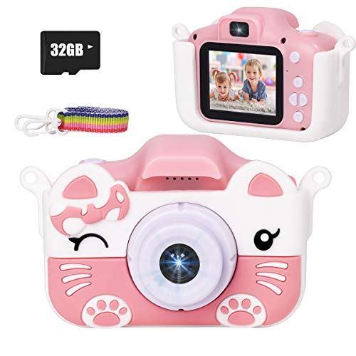 JLtech Kids Camera Digital Video Recorder Camera Toys for 2 3 4 5 6 7 8 9 10 Years Old Girls Boys Gift, Rechargeable Shockproof Mini Child Camcorder
