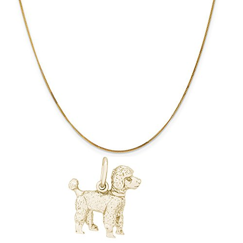 Rembrandt Charms 14K Yellow Gold Poodle Charm on a 14K Yellow Gold Curb Chain Necklace, 18