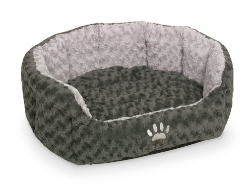 Nobby 71553 Komfort Bett Oval Seoli für Hunde Oder Katzen, L x B x H: 45 x 40 x 19 cm, dunkelgrau/hellgrau