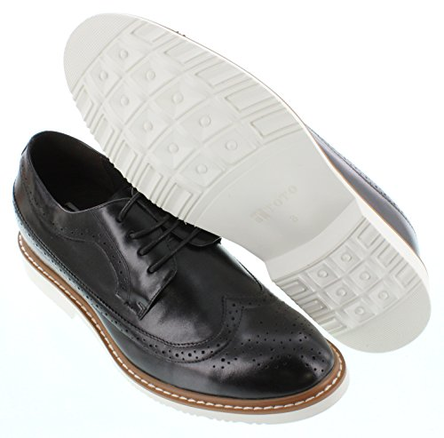 Toto X6062-2.6 inches Taller - height Increasing Elevator Shoes (Black Wing-Tip Lace-up) 6YqytPa