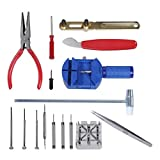 IC ICLOVER 16 Pcs Watch Repair Tool Set Wrist Watch Strap Adjust Pin Tool Kit Back Remover
