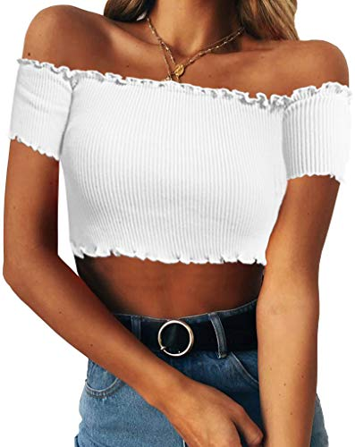 Lettuce Edge Ribbed Shirt - PRETTODAY Women's Sexy Off Shoulder Crop Tops 10 Colors Summer Long Sleeves Casual Slim Tees (Small, A-White-D)