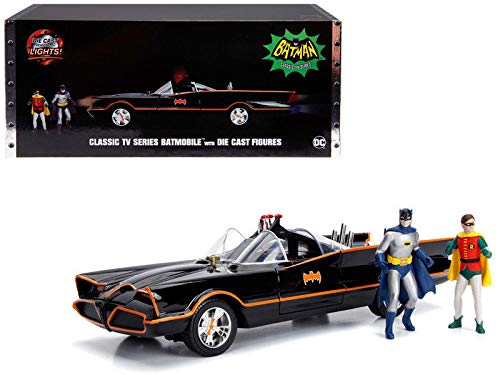 (New DIECAST Toys CAR JADA 1:18 Metals - Hollywood Rides - Classic TV Series Batmobile with Working Lights, Batman and Robin DIE CAST Figures)