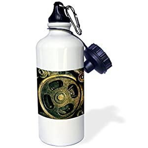 3dRose Steam Punk Gears in Bronze Realistic Look Fun Art-Sports Water Bottle, 21oz , 21 oz, Multicolor