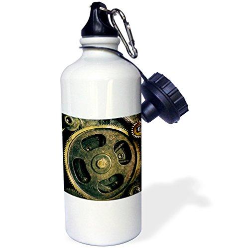 3dRose Steam Punk Gears in Bronze Realistic Look Fun Art-Sports Water Bottle, 21oz , 21 oz, Multicolor 3