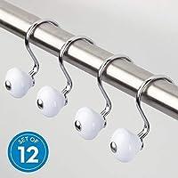 Cortina de metal InterDesign York, anillos de ganchos para ducha resistentes a la oxidación para niños, invitados, baño principal, juego de 12 blanco y cromo