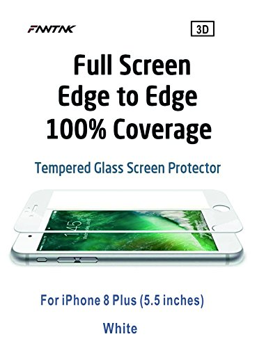 Big Fire Sales--iPhone 8 Plus Tempered Glass Screen Protector 9H Shock-Proof Anti-Scratch HD Clear 3D Cover Edge to Edge (5.5) (White)