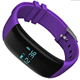 Mynike Fitness Tracker Waterproof Smart Bracelet Heart Rate Monitor Wristband Pedometer Step Walking Distance Calorie Counter Smart Watch Fitness Tracker for iOS Android Smartphone (Purple)