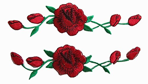 2-count-set-custom-and-unique-1-1-8-by-4-3-4-inches-blooming-roses-on-vine-iron-on-embroidered-appli