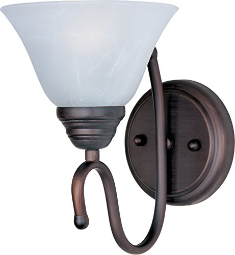 (Maxim 12066MROI Newport 1-Light Wall Sconce Bath Vanity, Oil Rubbed Bronze Finish, Marble Glass, MB Incandescent Bulb , 100W Max., Dry Safety Rating, Standard Dimmable, Glass Shade Material, 2300 Rated Lumens)