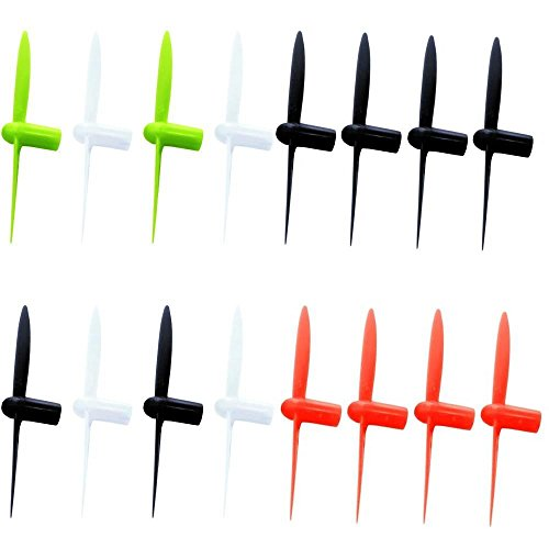 drone repair parts - HobbyFlip Red Black White and Lime Green 30mm Propellers Compatible with Sharper Image DX-1 Micro Drone