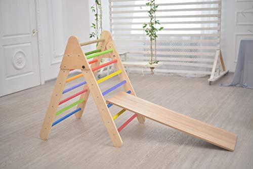 Lowest Prices! Smart Kids Wooden Little Climber with Slide - Foldable Pikler Triangle - Montessori R...