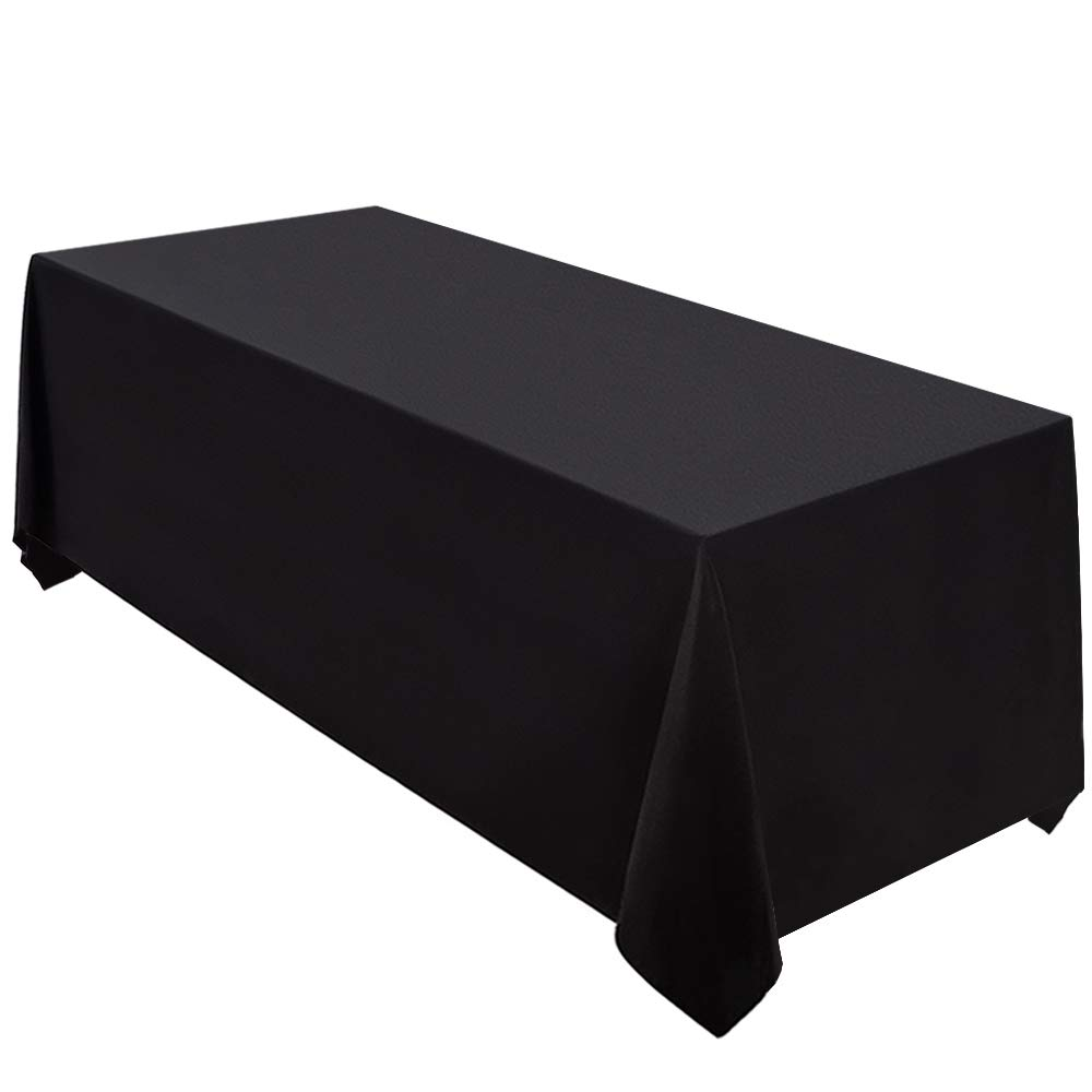 Surmente Tablecloth 90 x 132-Inch Rectangular Polyester Table Cloth for Weddings, Banquets, or Restaurants (Black,10 pack) ...