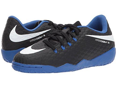 Nike Youth HypervenomX Phelon III Indoor Soccer Shoe, Black/Blue (4 M US Big Kid)