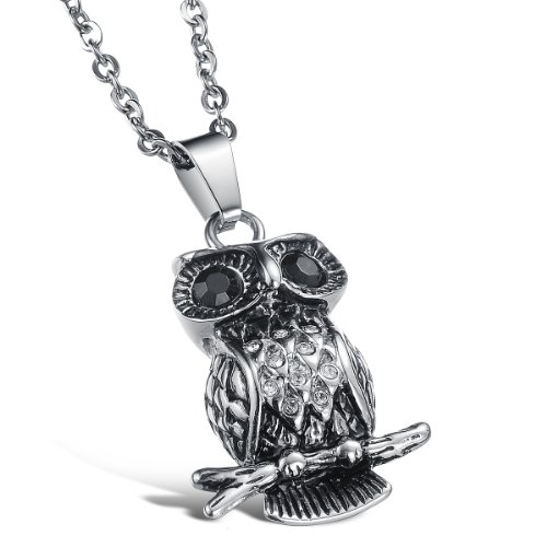 Love Link Chain (Fate Love Crystal Inlay Stainless Steel Owl Pendant Vintage Necklace for Men Women, 20