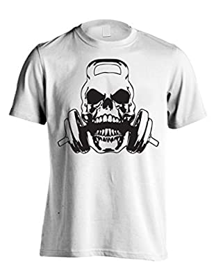 Men's Weight Lifting Skull Graphic Tee Athletic Fitness Sports T-Shirt