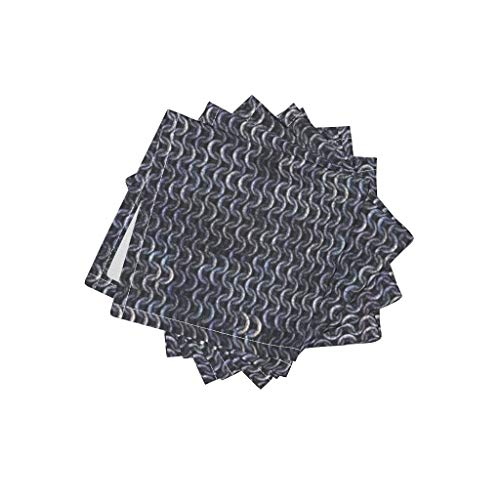 Roostery Medieval Linen Cotton Cloth Cocktail Napkins - Chainmaille Chain Maille Armor Armour Chain Maille by Bonnie Phantasm (Set of 4) 10 x 10in ()