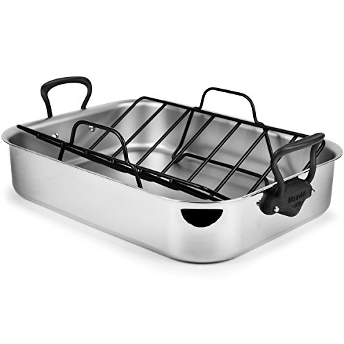 Mauviel M'Cook Pro 5-ply Stainless Steel 16 x 12-inch Roasting Pan with Stainless Steel Iron Finish Handles -